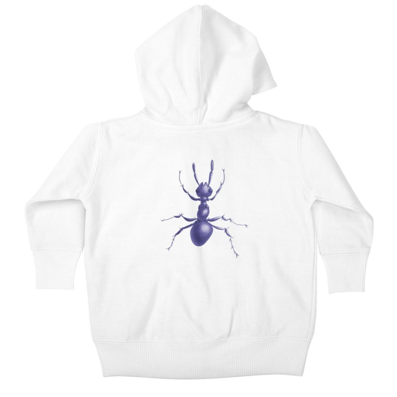 Purple Ant Digital Drawing Kids Baby Zip-Up Hoody by Boriana's Artist Shop