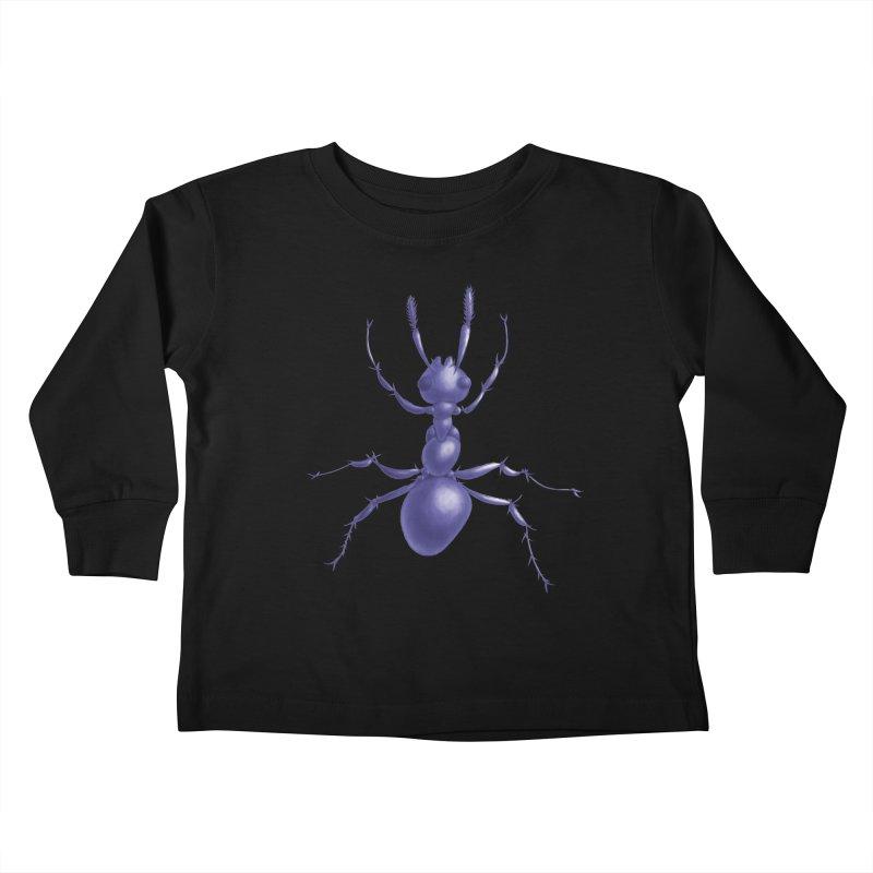 Purple Ant Digital Drawing Kids Toddler Longsleeve T-Shirt by Boriana's Artist Shop