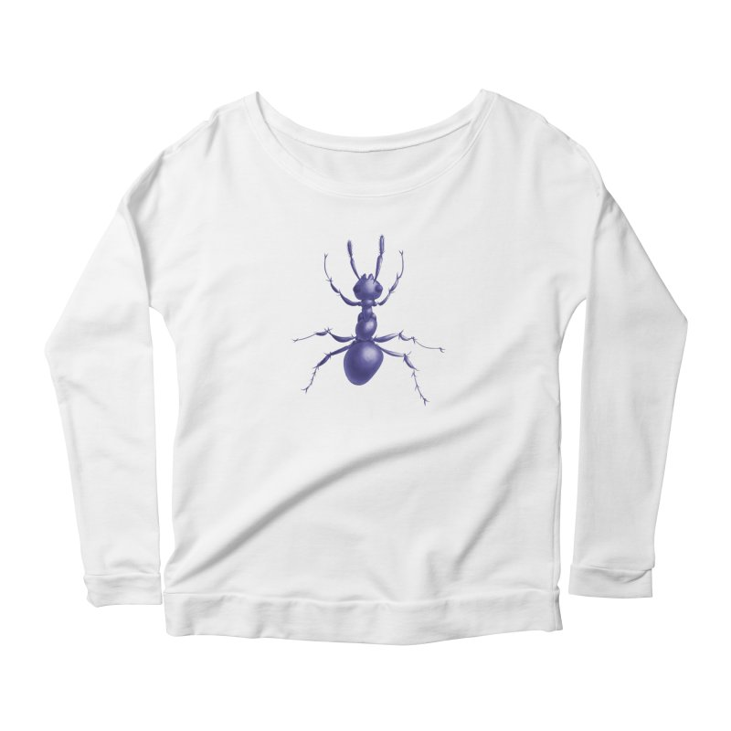 Purple Ant Digital Drawing Women's Scoop Neck Longsleeve T-Shirt by Boriana's Artist Shop