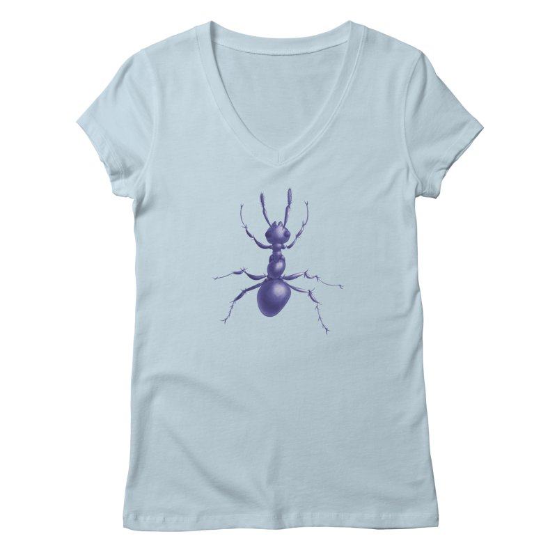 Purple Ant Digital Drawing Women's Regular V-Neck by Boriana's Artist Shop
