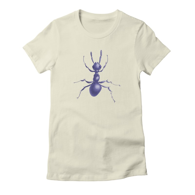 Purple Ant Digital Drawing Women's Fitted T-Shirt by Boriana's Artist Shop