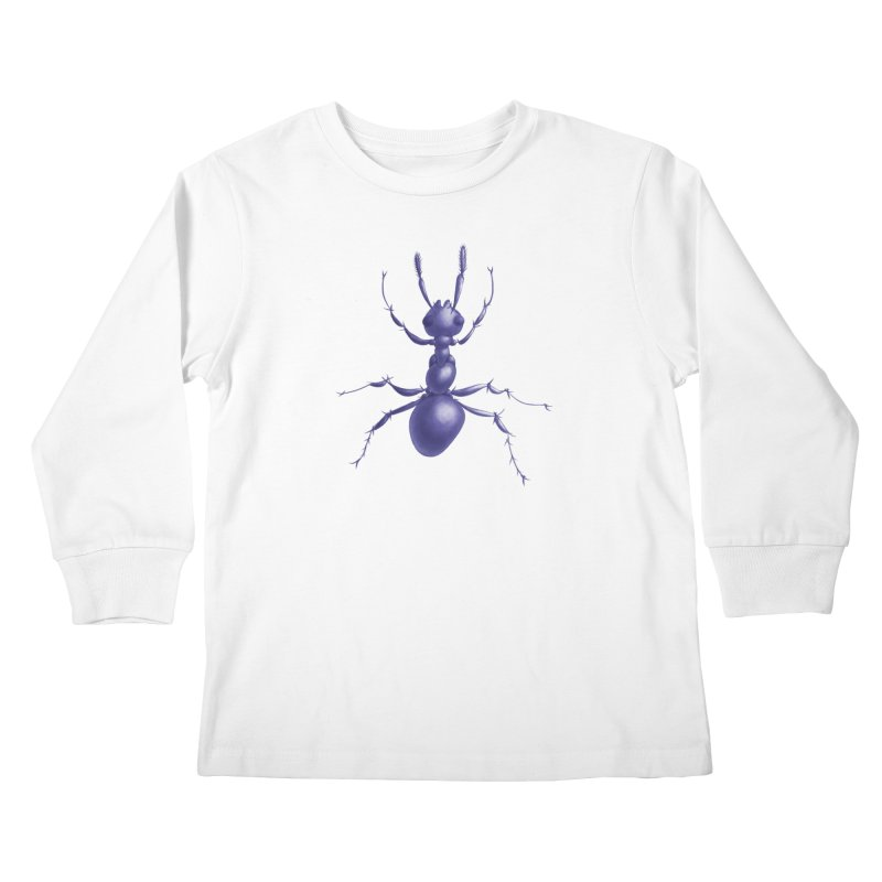 Purple Ant Digital Drawing Kids Longsleeve T-Shirt by Boriana's Artist Shop