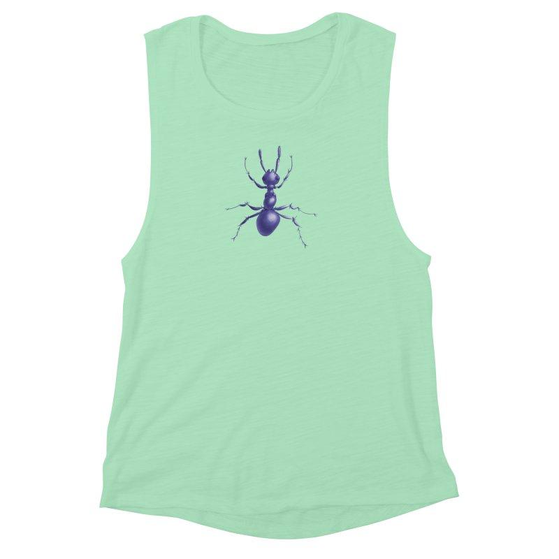Purple Ant Digital Drawing Women's Muscle Tank by Boriana's Artist Shop