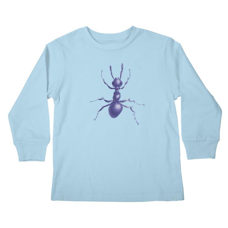 Purple Ant Digital Drawing Kids Longsleeve T-Shirt by Boriana's Artist Shop