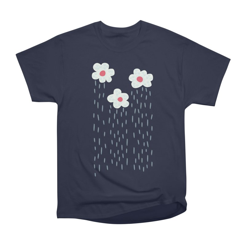 Floral Raining Clouds Women's Heavyweight Unisex T-Shirt by Boriana's Artist Shop