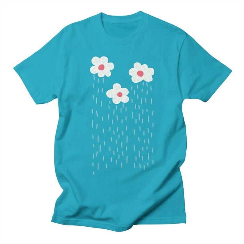 Floral Raining Clouds Women's Regular Unisex T-Shirt by Boriana's Artist Shop