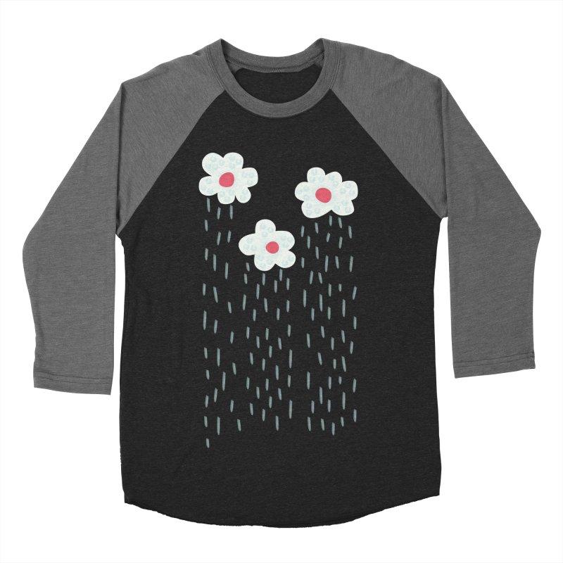 Floral Raining Clouds Women's Baseball Triblend Longsleeve T-Shirt by Boriana's Artist Shop