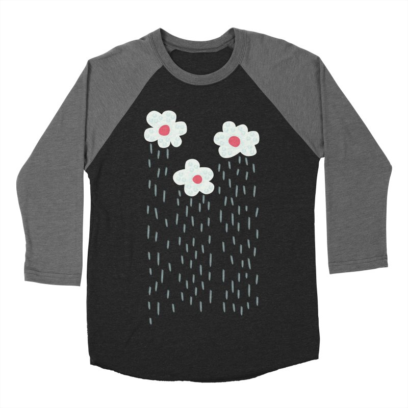 Floral Raining Clouds Men's Baseball Triblend Longsleeve T-Shirt by Boriana's Artist Shop