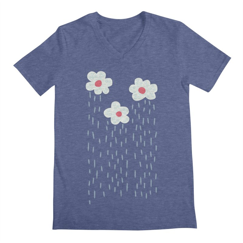 Floral Raining Clouds Men's Regular V-Neck by Boriana's Artist Shop