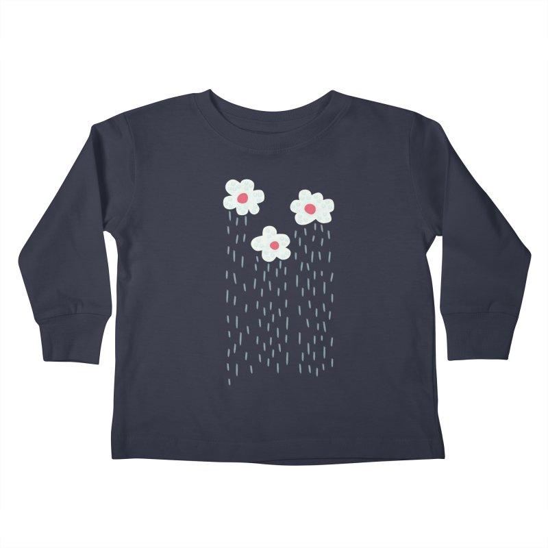 Floral Raining Clouds Kids Toddler Longsleeve T-Shirt by Boriana's Artist Shop