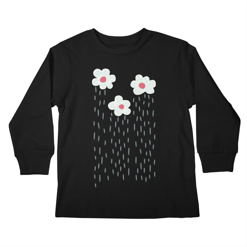 Floral Raining Clouds Kids Longsleeve T-Shirt by Boriana's Artist Shop