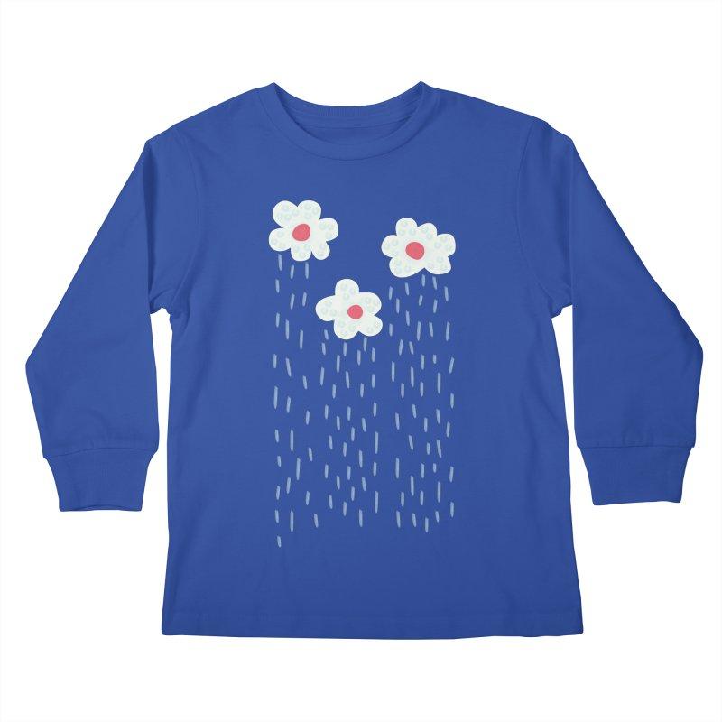 Floral Raining Clouds Kids Longsleeve T-Shirt by Boriana's Artist Shop