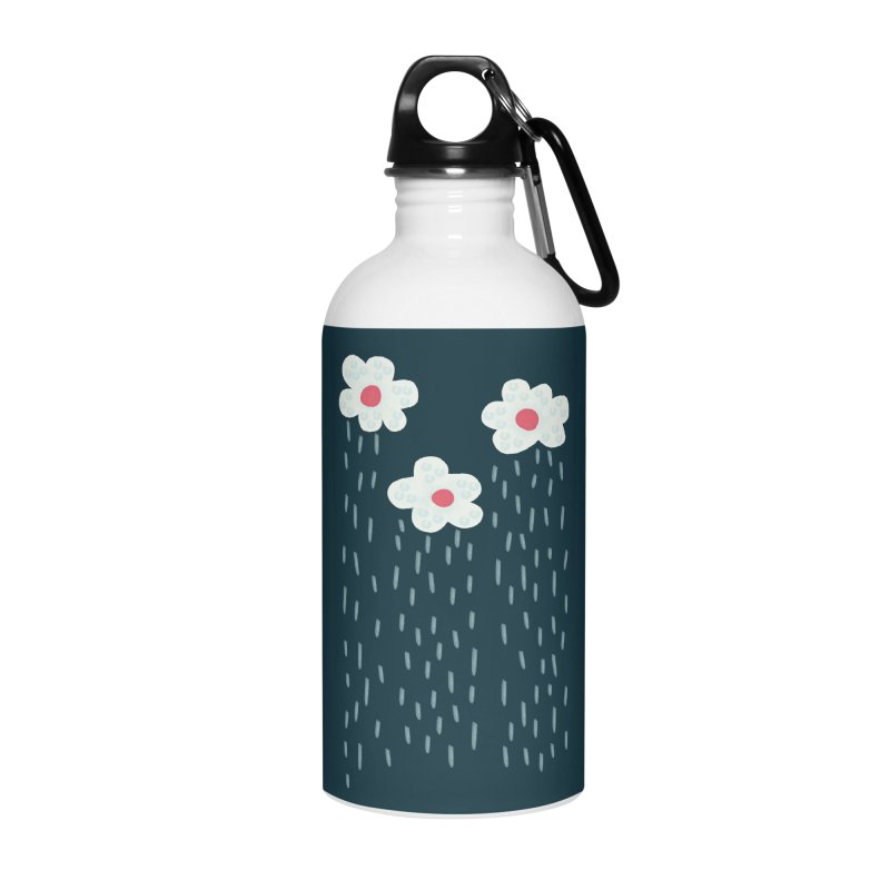 Floral Raining Clouds Accessories Water Bottle by Boriana's Artist Shop
