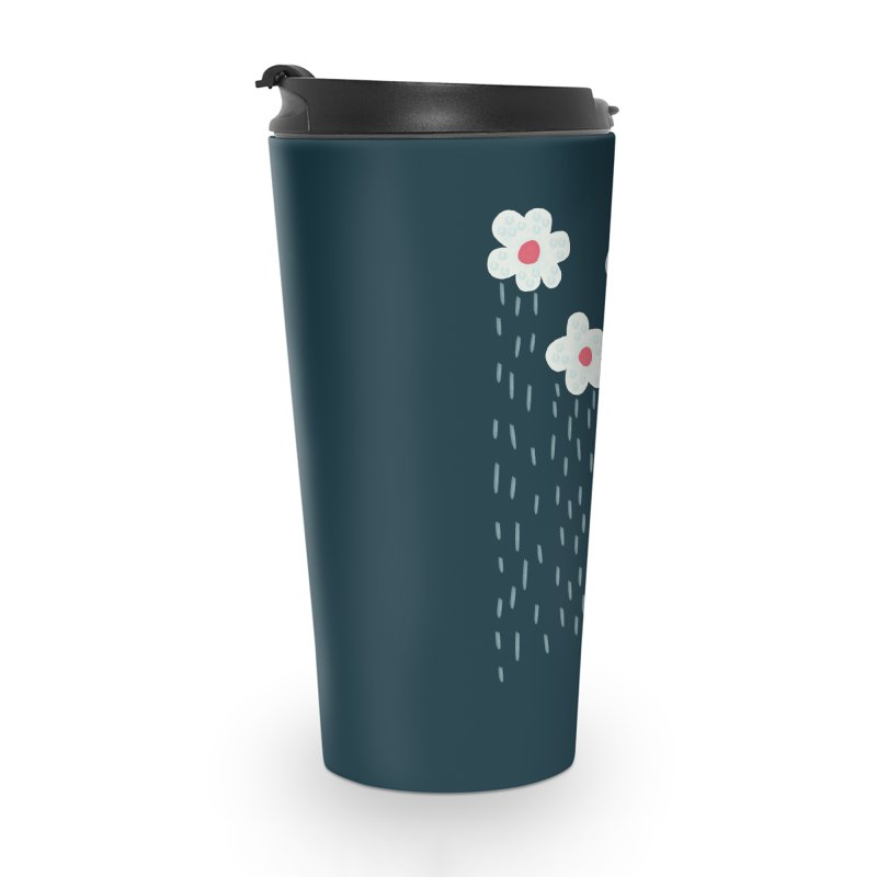 Floral Raining Clouds Accessories Travel Mug by Boriana's Artist Shop