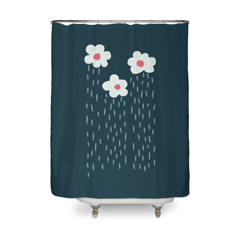 Floral Raining Clouds Home Shower Curtain by Boriana's Artist Shop
