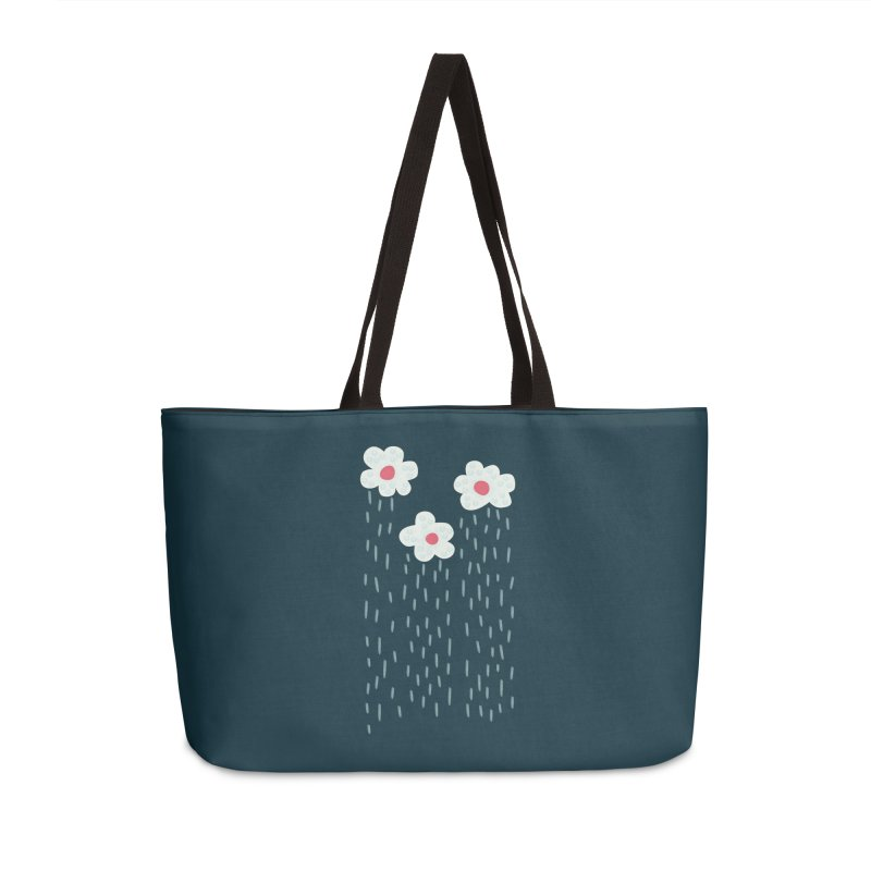 Floral Raining Clouds Accessories Weekender Bag Bag by Boriana's Artist Shop