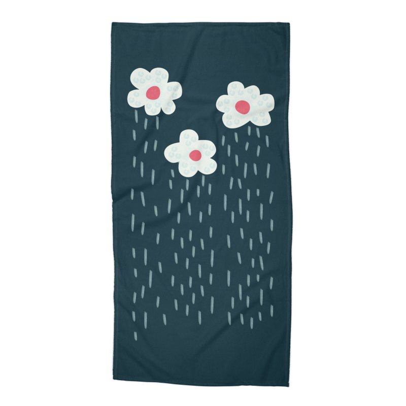 Floral Raining Clouds Accessories Beach Towel by Boriana's Artist Shop