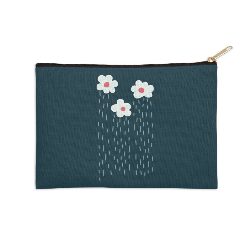 Floral Raining Clouds Accessories Zip Pouch by Boriana's Artist Shop