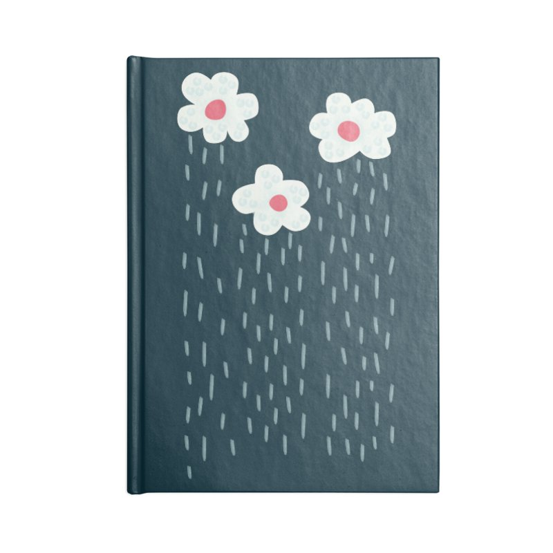 Floral Raining Clouds Accessories Blank Journal Notebook by Boriana's Artist Shop