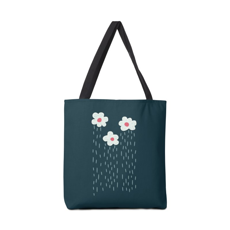 Floral Raining Clouds Accessories Tote Bag Bag by Boriana's Artist Shop