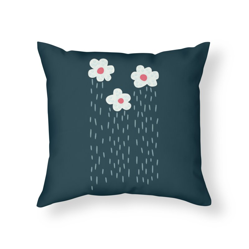 Floral Raining Clouds Home Throw Pillow by Boriana's Artist Shop