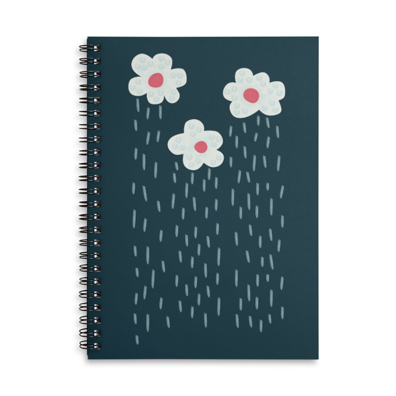 Floral Raining Clouds Accessories Lined Spiral Notebook by Boriana's Artist Shop