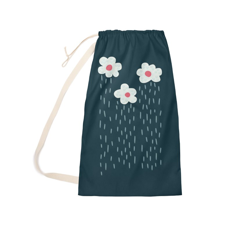 Floral Raining Clouds Accessories Laundry Bag Bag by Boriana's Artist Shop
