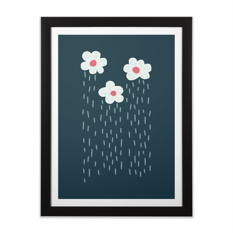 Floral Raining Clouds Home Framed Fine Art Print by Boriana's Artist Shop
