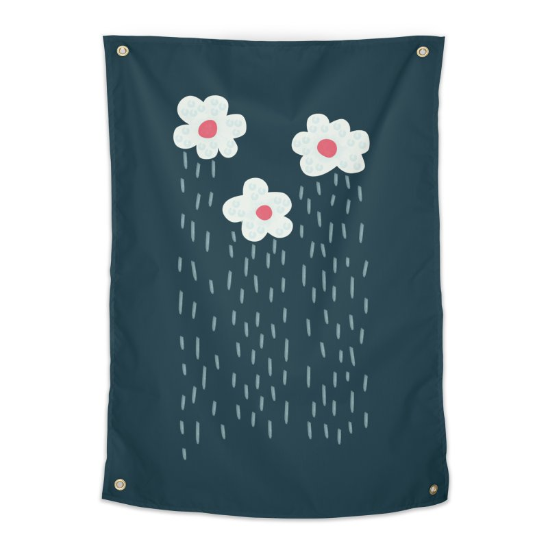 Floral Raining Clouds Home Tapestry by Boriana's Artist Shop
