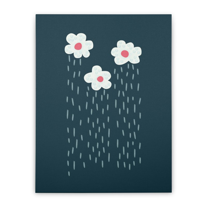 Floral Raining Clouds Home Stretched Canvas by Boriana's Artist Shop