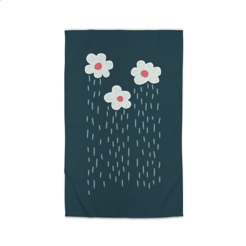 Floral Raining Clouds Home Rug by Boriana's Artist Shop