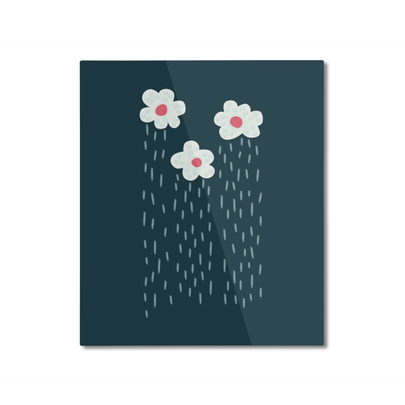 Floral Raining Clouds Home Mounted Aluminum Print by Boriana's Artist Shop