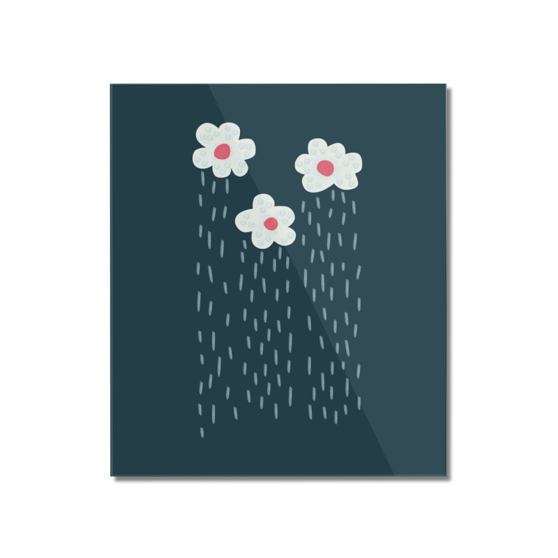 Floral Raining Clouds Home Mounted Acrylic Print by Boriana's Artist Shop