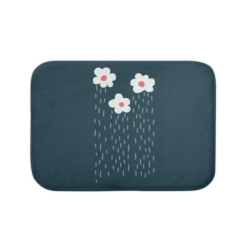Floral Raining Clouds Home Bath Mat by Boriana's Artist Shop