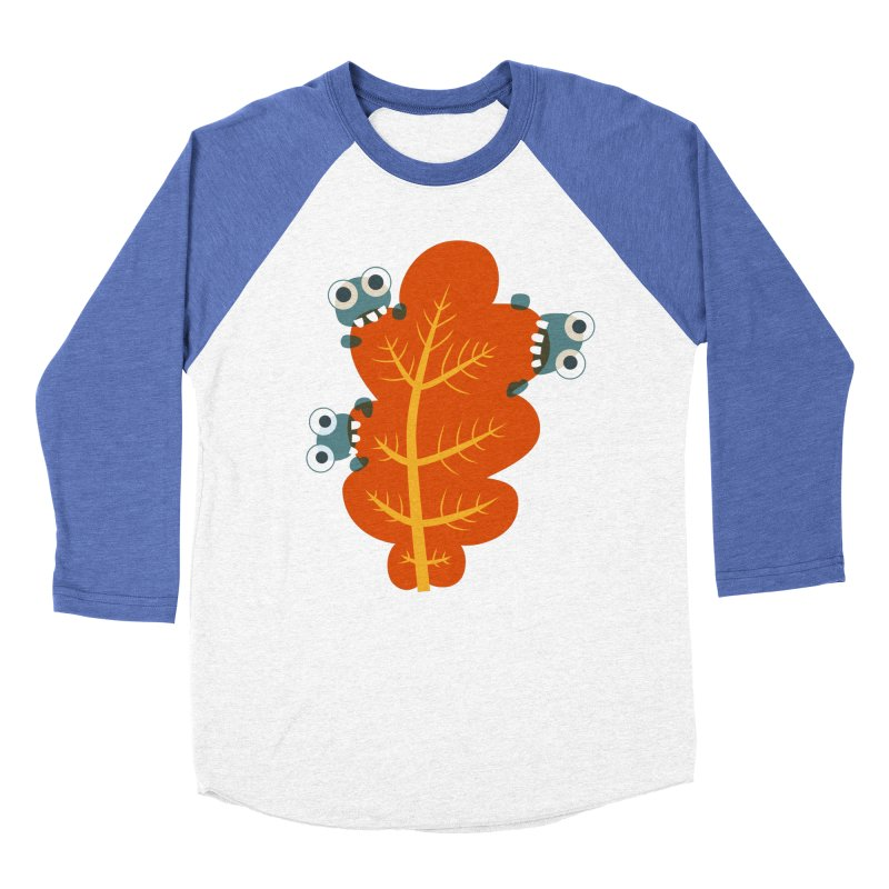 Cute Bugs Eat Autumn Leaf Men's Baseball Triblend Longsleeve T-Shirt by Boriana's Artist Shop