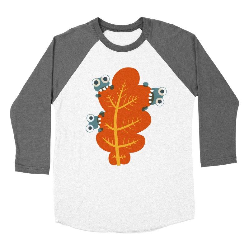 Cute Bugs Eat Autumn Leaf Men's Baseball Triblend Longsleeve T-Shirt by Boriana's Artist Shop