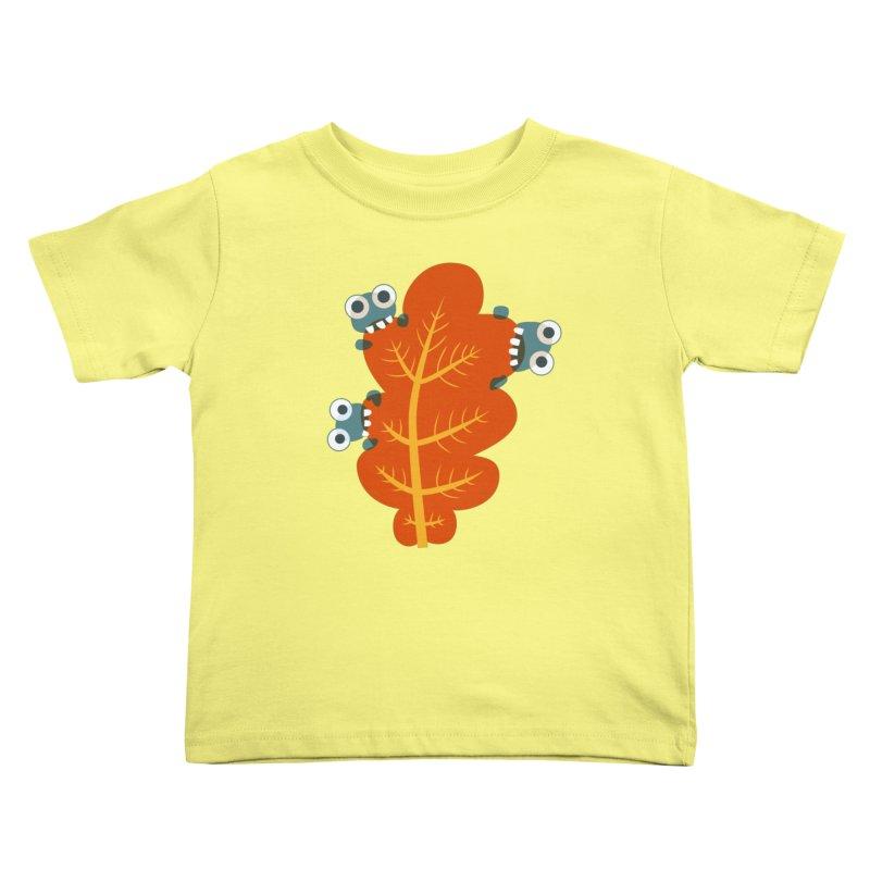 Cute Bugs Eat Autumn Leaf Kids Toddler T-Shirt by Boriana's Artist Shop