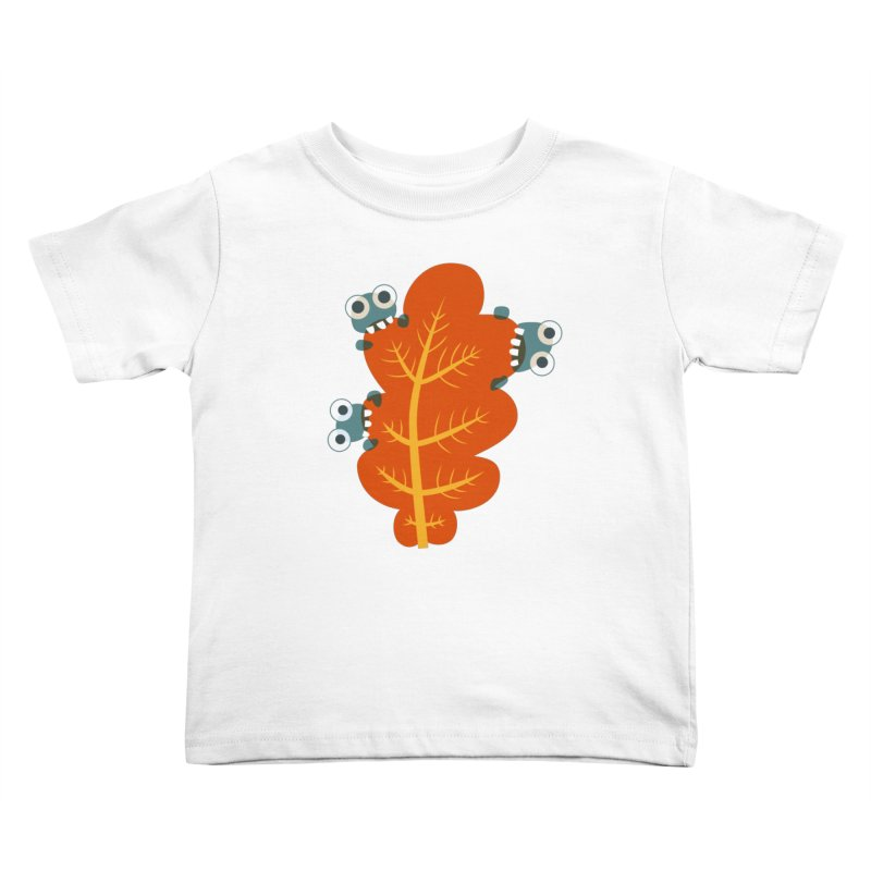 Cute Bugs Eat Autumn Leaf Kids Toddler T-Shirt by Boriana's Artist Shop