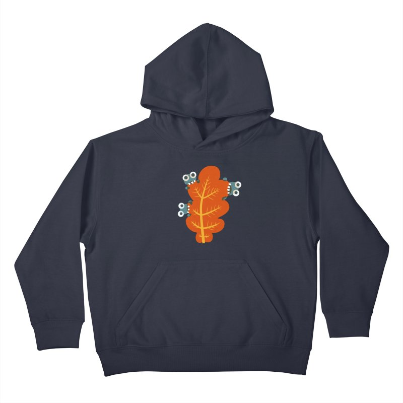 Cute Bugs Eat Autumn Leaf Kids Pullover Hoody by Boriana's Artist Shop