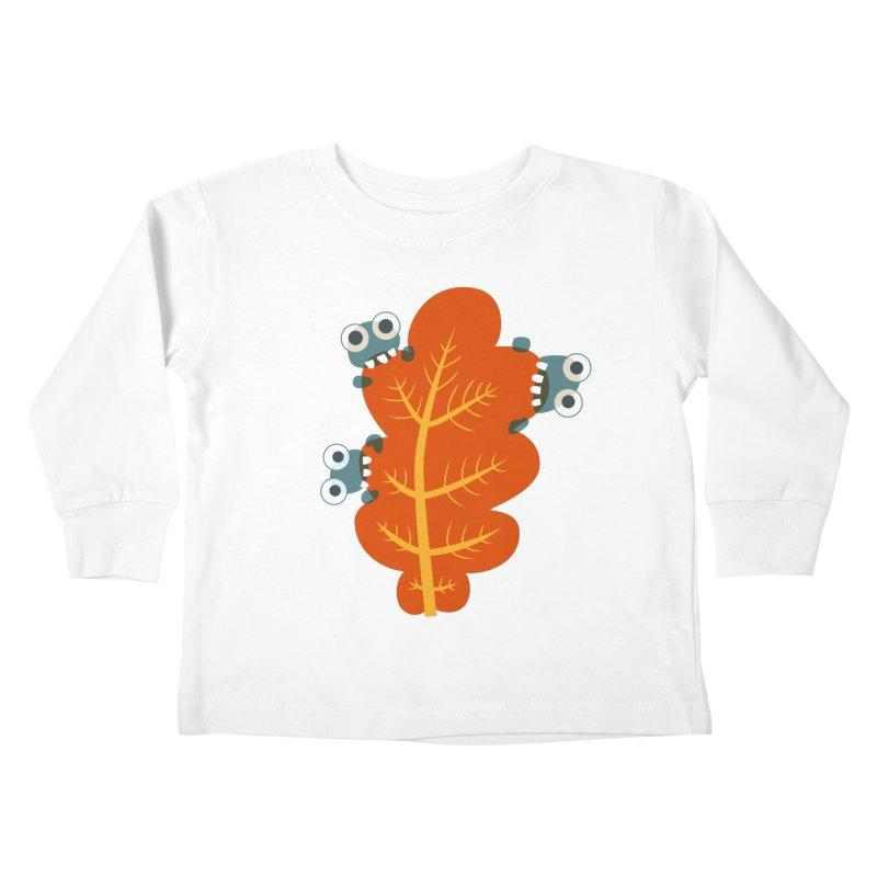 Cute Bugs Eat Autumn Leaf Kids Toddler Longsleeve T-Shirt by Boriana's Artist Shop