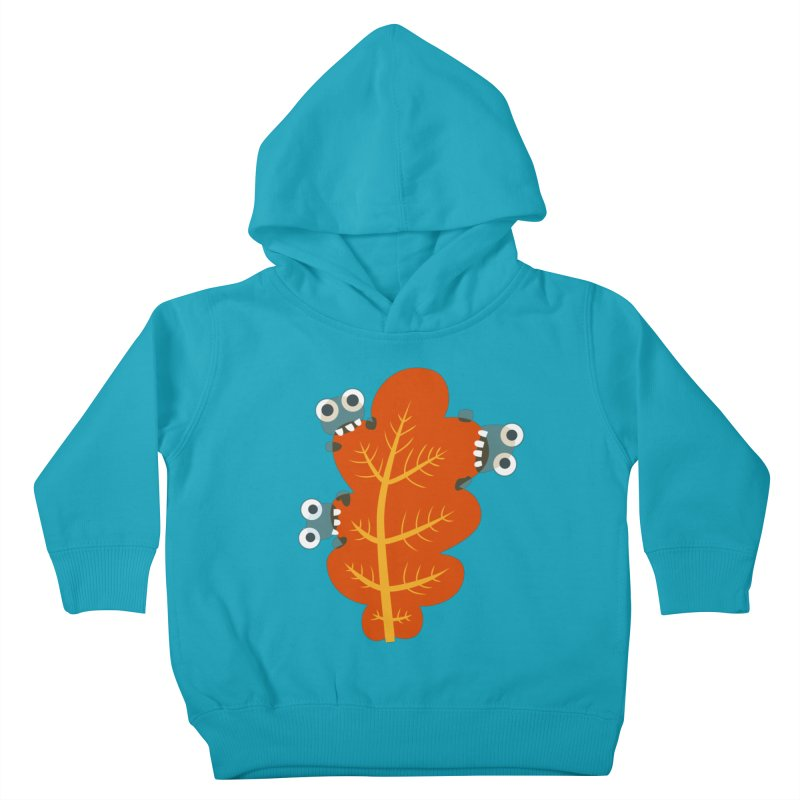 Cute Bugs Eat Autumn Leaf Kids Toddler Pullover Hoody by Boriana's Artist Shop