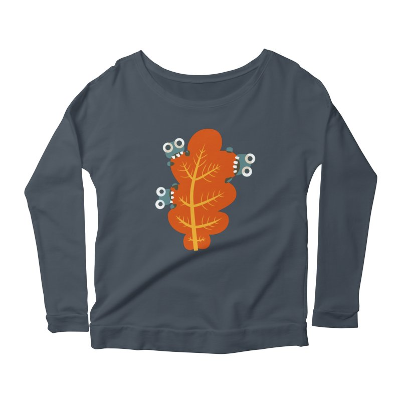 Cute Bugs Eat Autumn Leaf Women's Scoop Neck Longsleeve T-Shirt by Boriana's Artist Shop
