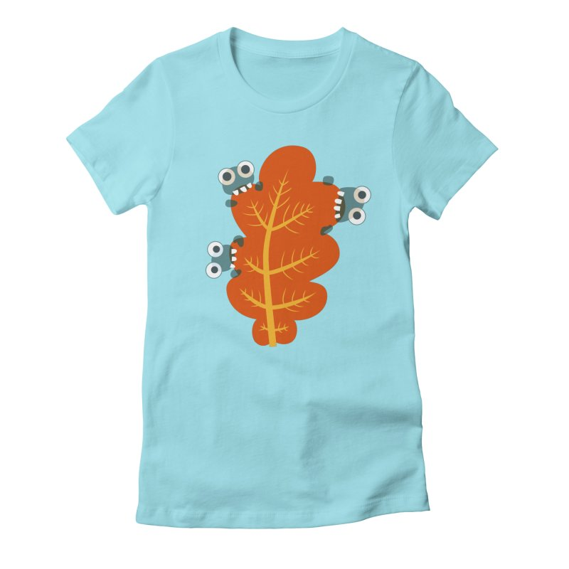 Cute Bugs Eat Autumn Leaf Women's Fitted T-Shirt by Boriana's Artist Shop