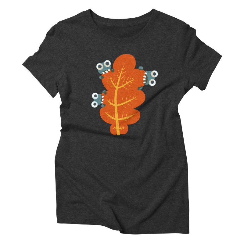 Cute Bugs Eat Autumn Leaf Women's Triblend T-Shirt by Boriana's Artist Shop