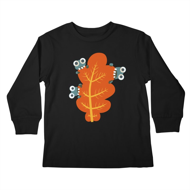 Cute Bugs Eat Autumn Leaf Kids Longsleeve T-Shirt by Boriana's Artist Shop