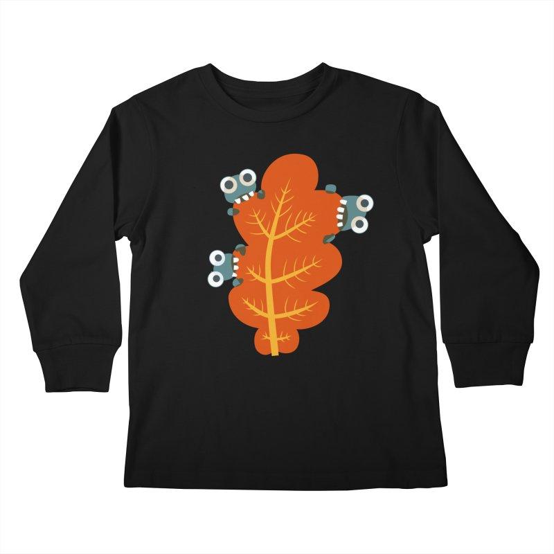 Cute Bugs Eat Autumn Leaf Kids Longsleeve T-Shirt by Boriana's Artist Shop