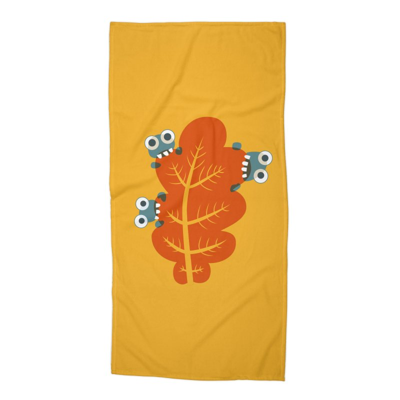Cute Bugs Eat Autumn Leaf Accessories Beach Towel by Boriana's Artist Shop