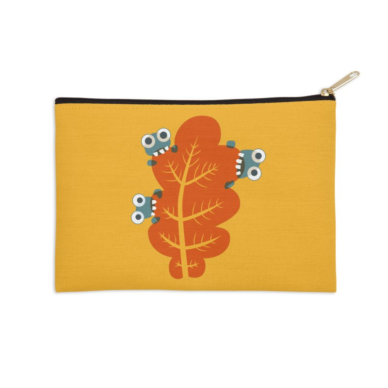 Cute Bugs Eat Autumn Leaf Accessories Zip Pouch by Boriana's Artist Shop