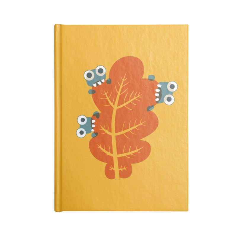 Cute Bugs Eat Autumn Leaf Accessories Lined Journal Notebook by Boriana's Artist Shop