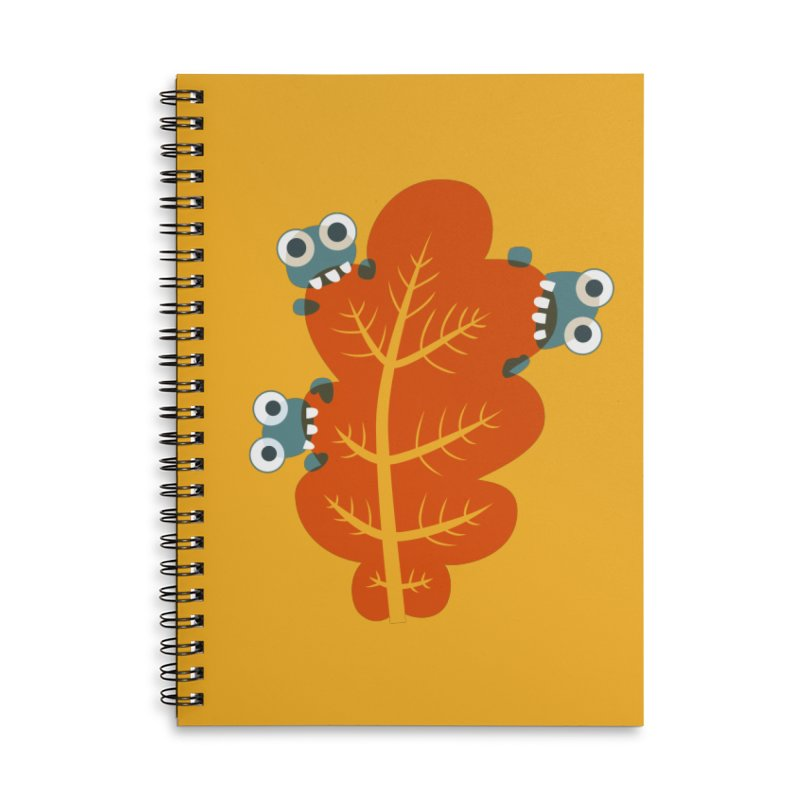 Cute Bugs Eat Autumn Leaf Accessories Lined Spiral Notebook by Boriana's Artist Shop